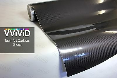 Gloss carbon fiber black tech art 3d 30M x 1.52M Vinyl Roll wrap +3mil VViViD9