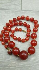 Antique Art Deco Czech Red striped Graduated Glass Beaded Necklace