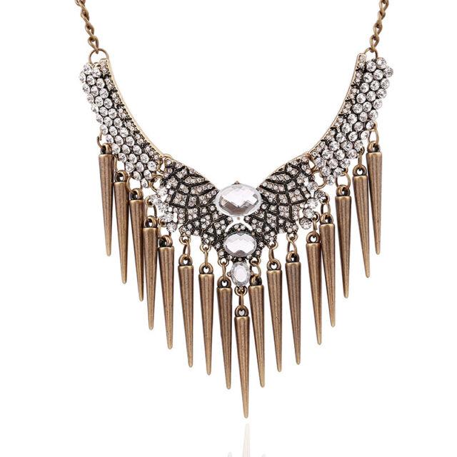 Fashion Retro Punk Rivet Crystal Tassel Pendant Statement Bib Chain Necklace