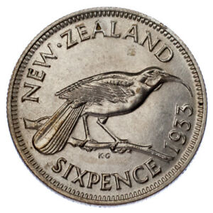 1933-Nuova-Zelanda-6-Pence-km-2-Unc-Condizioni