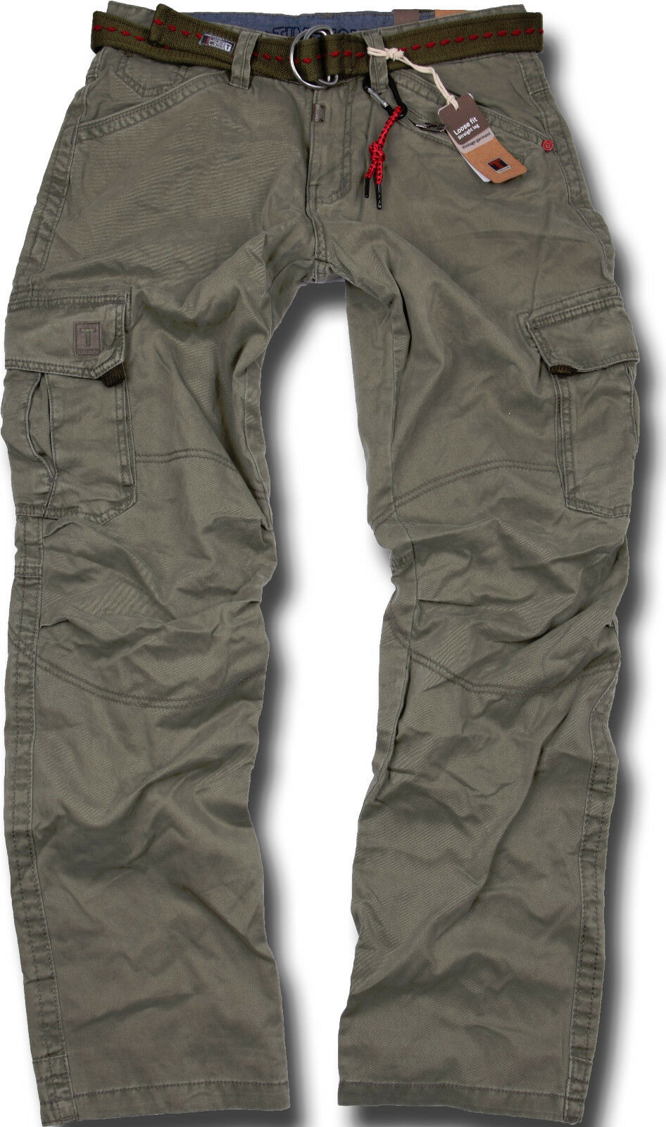 Timezone Men's Cargo Trousers Benito Olive Outdoor 4019 Jeans
