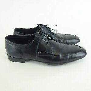 Prada Black Leather Dress Shoes Size 7.5 (2 EE 018)