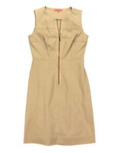 SINCLAIRE-10-Women-039-s-Sleeveless-Zip-Front-Tyler-Sheath-Dress-Tan-Khaki-Size-4