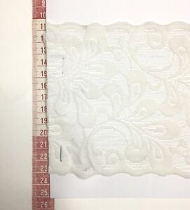 Vintage-Floral-Lace-Trim-Cream-ivory-Nylon-Spandex-13cm-Stretch-Pm-Scallop