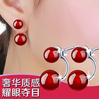 2017 New Womens 925 Sterling Silver Natural Red Agate Ear Stud Earrings Jewelry