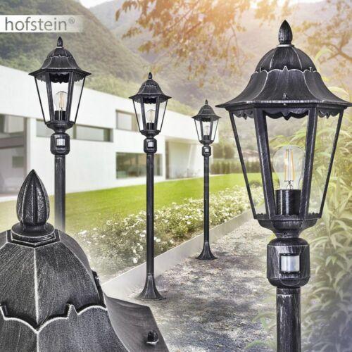 Bewegungsmelder Garten Wege Lampe schwarz//Silber Außen Steh Beleuchtung Laterne
