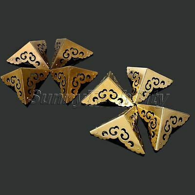 4x Brass Box Wave Corners for Furniture Cabinet Jewelry Case Chest Corner Guard
