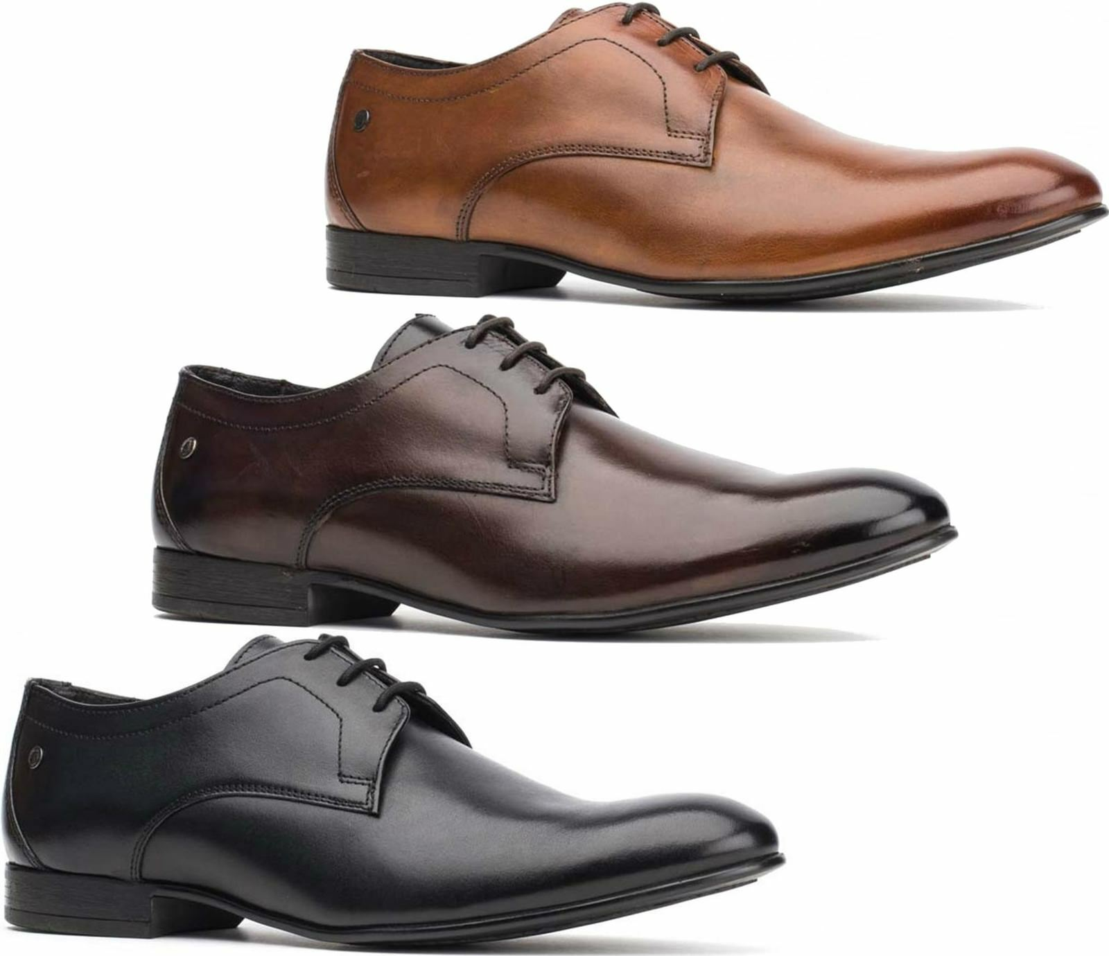 67c3b623aa99 Base London ELGAR Mens Waxy Washed Leather Formal Office Smart Derby shoes