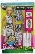 Barbie Crayola lightly damaged box - NEW Color In Fashions Blonde Doll Set