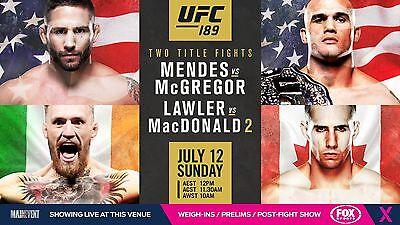 UFC 189 Event Poster McGregor vs Mendes Lawler vs MacDonald 2-11x17 13x19