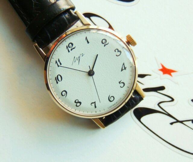 mens wristwatch LUCH Soviet USSR (Poljot de luxe) GOLD PLATED NOT REPAIR PERFECT