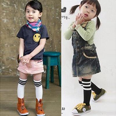 Toddler Kid Girls Cotton Stripes Socks School High Knee Tights Stockings 2-7Y