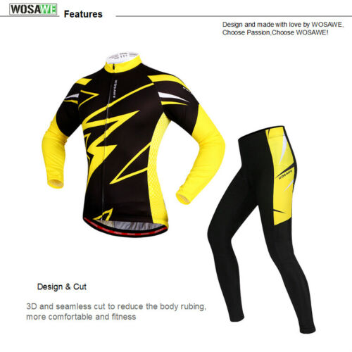 Mens Cycling Set Long Sleeve Jersey Pants MTB Bike Bicycle Sports Clothing Suit