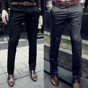 HOT Fashion Men Slim Fit Luxury Dress Pants Solid Skinny Jeans