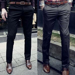 HOT Fashion Men Slim Fit Luxury Dress Pants Solid Skinny Jeans ...