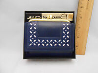 Vintage Amity French Purse Blue Wallet Snap Close Coin Pocket Leather W/box