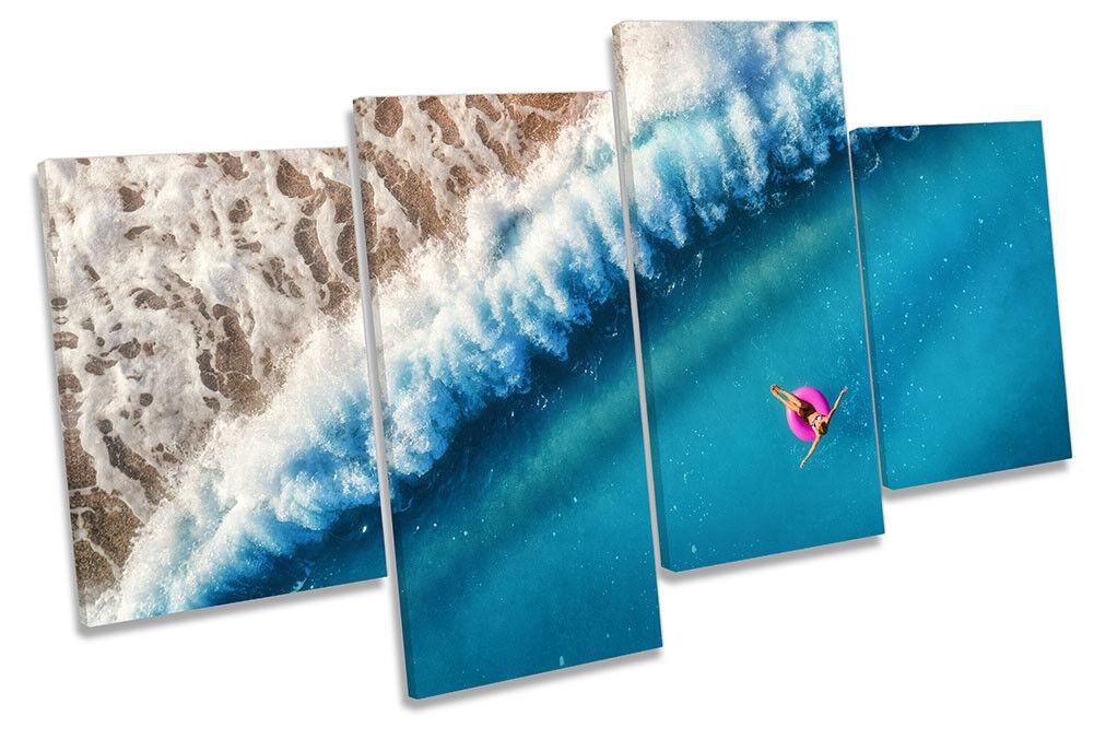 Beach Wave Blau Swim Ocean Framed MULTI CANVAS PRINT Wall Art