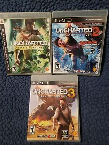 Uncharted 1,2, and 3 Bundle PS3  1-2 Complete, 3 No Manual PS3 Lot CLEAN TESTED