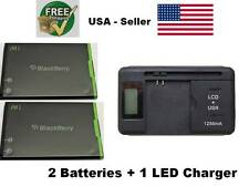 2 JM1 Blackberry Battery + 1 LED Charger Bold 9900 9930 Touch 9850 9860 1230mAh