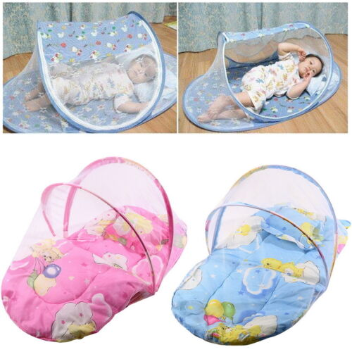 Baby On the Go Travel Padded Mattress Cot Bed Mosquito Net Safety Foldable ~w~