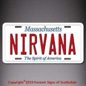 Details about Nirvana Rock and Roll Band Massachusetts State Aluminum  Vanity License Plate Tag