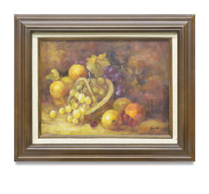 NY-Art-12x16-Impressionist-Fruit-Basket-Still-Life-Oil-Painting-with-Frame