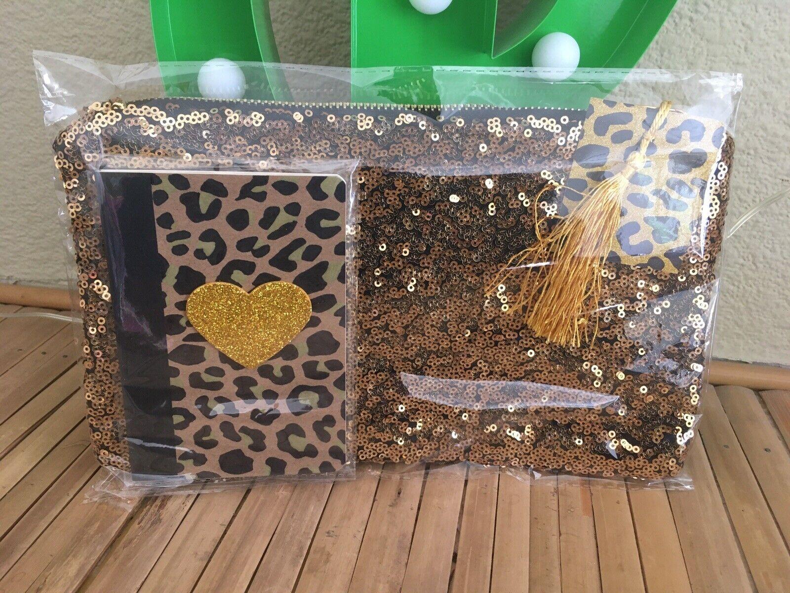 Rockabilly Gold Sequin Clutch Bag +Leopard Print Heart Notebook 2pc Gift Set