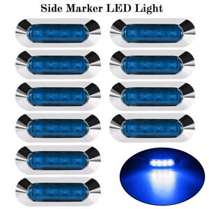 10X-Waterproof-4-LED-Blue-Side-Marker-Light-Lamp-Truck-Trailer-Indicator-12V-24V