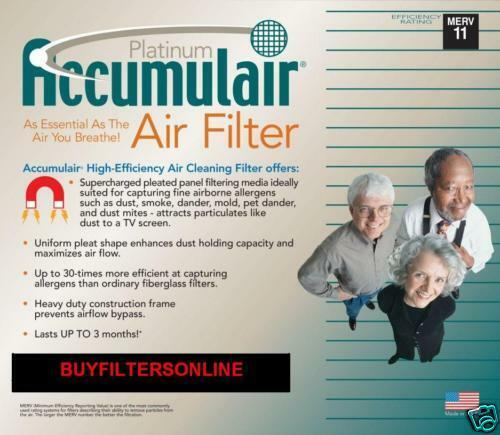 ACCUMULAIR PLATINUM MERV 11 HOME AIR FILTERS MANY SIZES