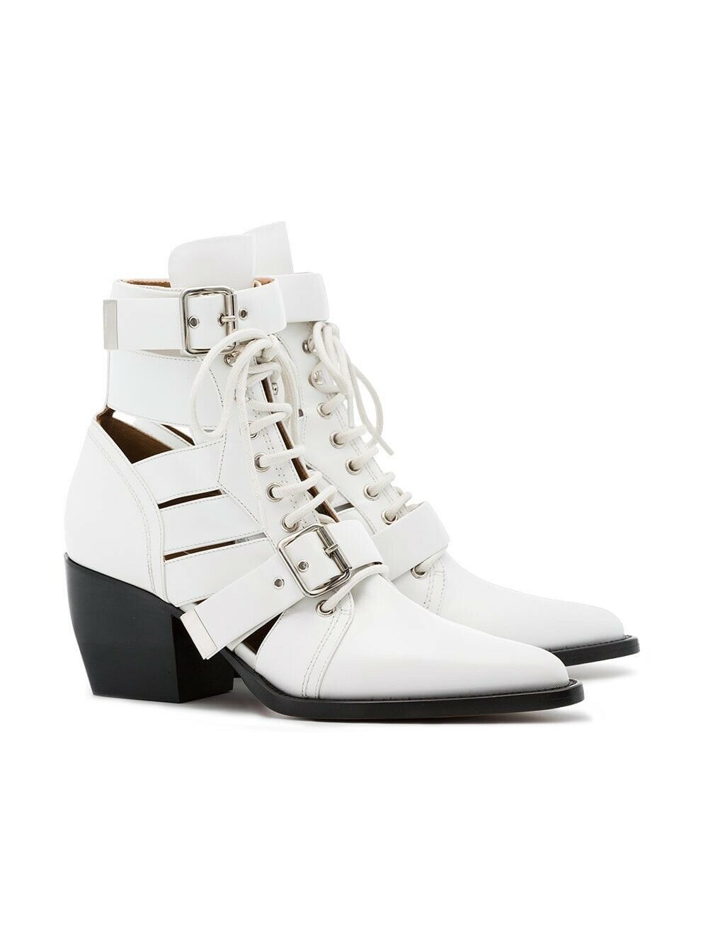 New In Box Chloe Rylee Lace-Up White Calf Leather Cage Boots 38.5 8.5  1390.00