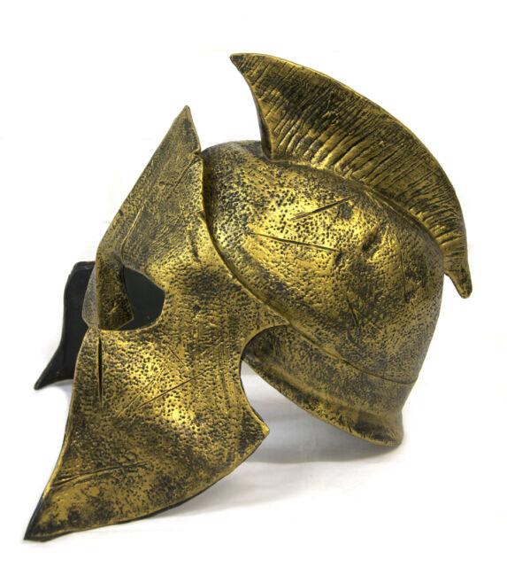 Deluxe Roman Gold Gladiator Helmet Hat Spartan Soldier Warrior Fancy Dress