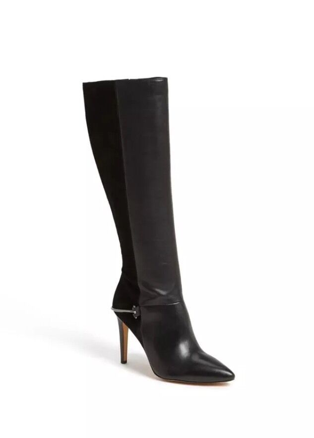 basso prezzo del 40% Sam Edelman Mazie Tall Heel Heel Heel Knee stivali Leather Suede Pointy-Toe nero Sz 10  shopping online di moda