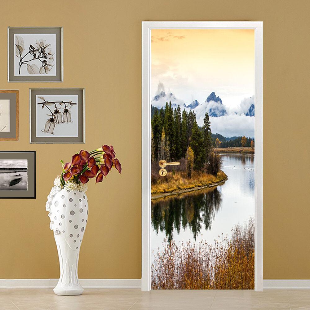 3D Holz Fluss 54 Tür Mauer Wandgemälde Foto Wandaufkleber AJ WALL DE Lemon