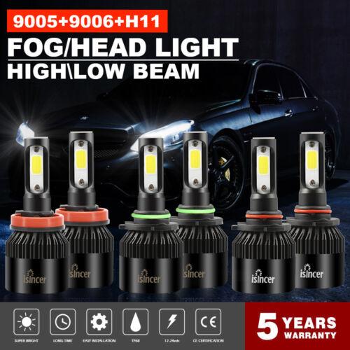 Combo 9005 9006 H11 Total 3900W 585000LM LED Headlight Fog Kit Hi-Low Beam 6000K