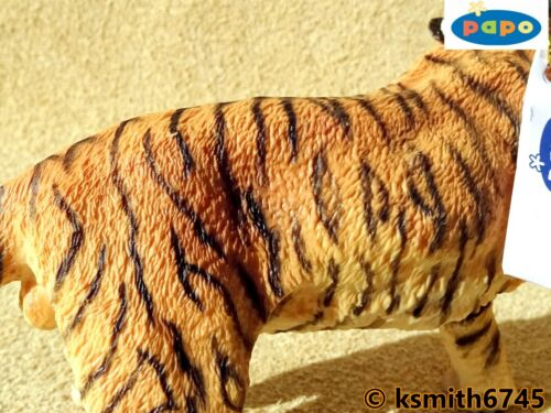 NUOVO * Papo ruggente tigre plastica solida giocattolo figura Wild Zoo Animale Gatto