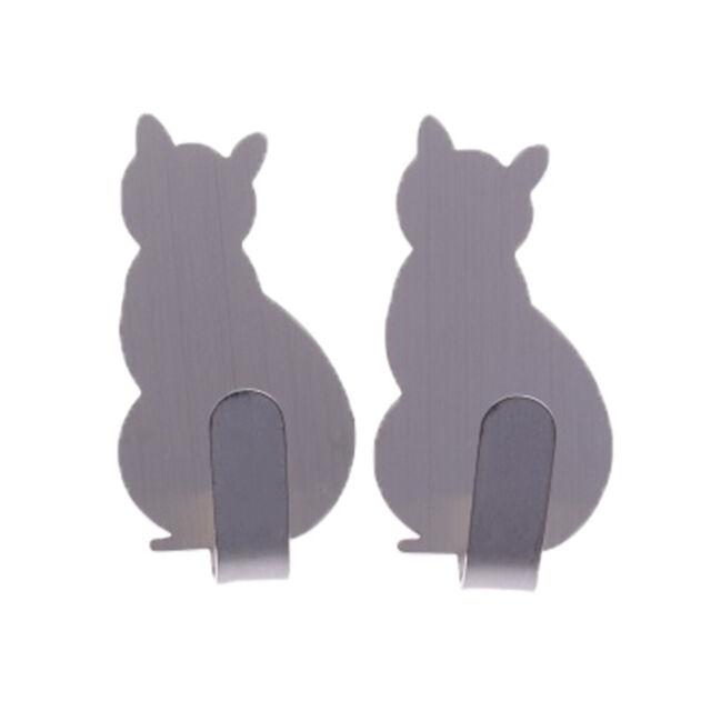 2pcs cat wall hooks self-adhesive hanger key holder adhesive hooks door hanger H