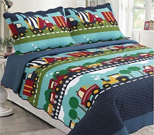 Fancy Linen 3pc Full Bedspread Set Cars Train Boys Dark Blue Green Blue New