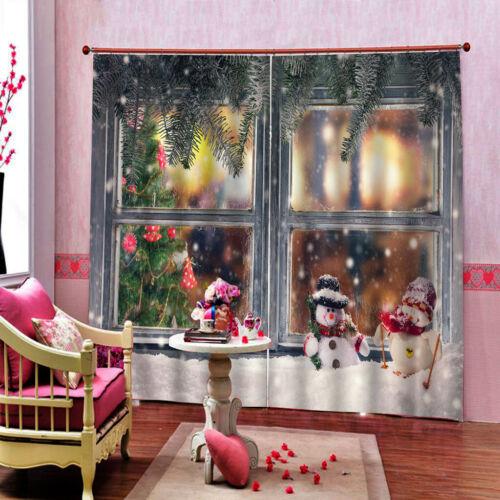 200x170cm Christmas Curtains Window Waterproof Xmas Snowman 2Panels Drapes #A