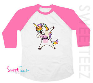 684d199b7 ... dabbing unicorn shirt personalized gift for a pink raglan ...