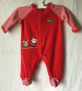 Little Me My First Christmas Pajamas Sleeper Footed Santa Claus Baby ...