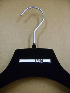 """McQ ALEXANDER MCQUEEN 16 1/2"""" SHIRT / COAT BLACK VELVET FELT HANGERS SET 6"""