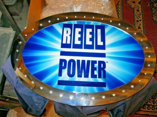 "/"" REEL POWER /"" TOP LIGHTED OVAL PLEX STEEL FRAME SLOT MACHINE CASINO UNTESTED"