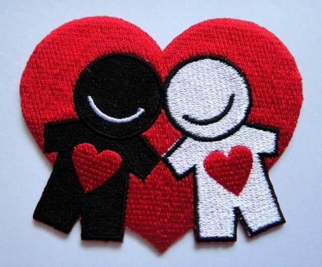 LOVE HEART PAIR SWEET WEDDING COUPLE Embroidered Iron on Patch Free Postage
