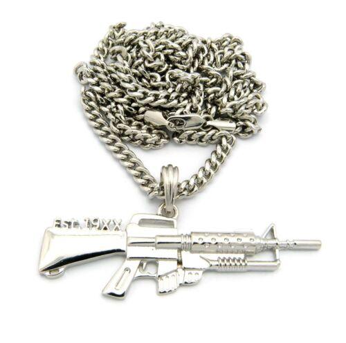 """MGK/'S MACHINE GUN LACE UP EST 19XX PENDANT 5mm//36/"""" CUBAN CHAIN NECKLACE XZP12CC"""
