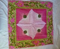 Handmade Baby Girl Crib Quilt, Pink Green Floral, 32 X 32