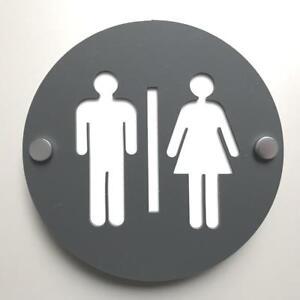Rond Mâle & Femelle Toilette Signe Graphite-gris & Blanc Mat & Chrome Fixations-afficher Le Titre D'origine