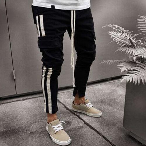 Uomo Aderente Strappato Jeans Biker Destroyed Pantaloni Denim Elasticizzato