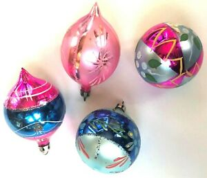 Vintage-Lot-of-4-Christmas-Ornaments-Poland-Mercury-Glass-MCM-Mixed-1950s-1960s