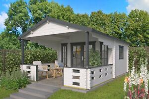 Details zu 44 mm Gartenhaus + Terrasse 380x590 cm Blockhaus Holzhaus  Gerätehaus Holz