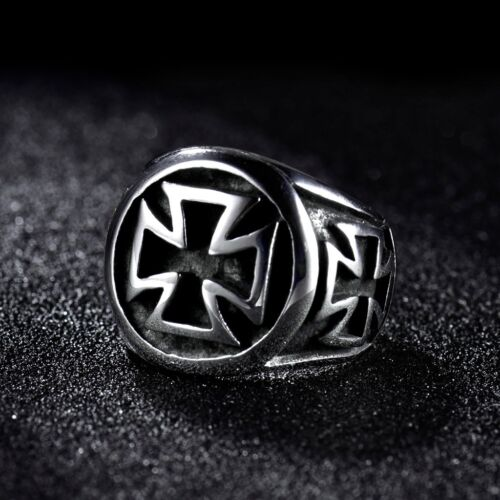 Mens 316L Silver Stainless Steel Gothic Punk Cross Finger Band Rings Jewelry